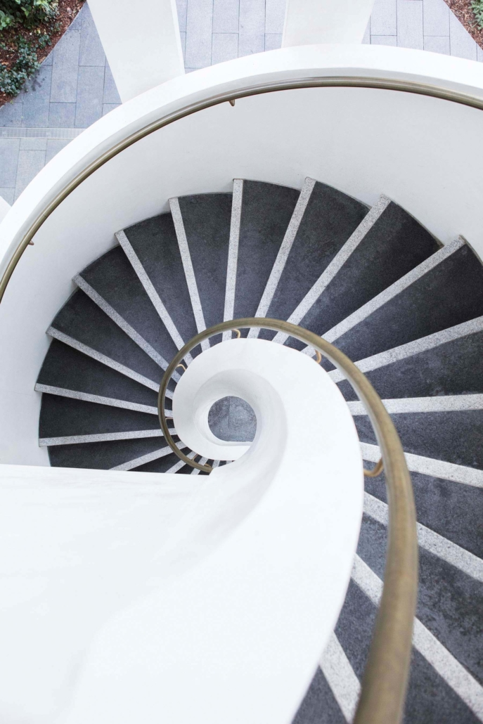 spiral staircase viewed from above to look like a snail